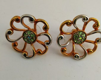Vintage Brass Silver & Gold Plated With Green Rhinestones Charming Women Stud Flower Earrings #239