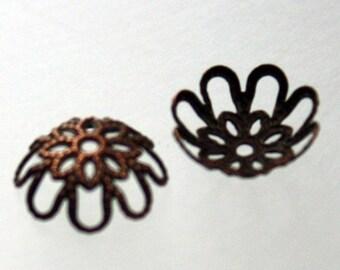 100 pcs of Antiqued copper filigree bead caps 9.75mm