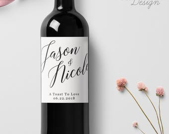 Custom Wedding Wine Labels, Personalized Wine Label, with Elegant Script Calligraphy, Wedding Wine Bottle Labels, Ship from the U.S., WL9