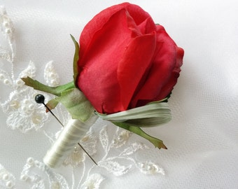 Wedding Natural Touch Red Rose Boutonniere Silk Wedding Boutonniere