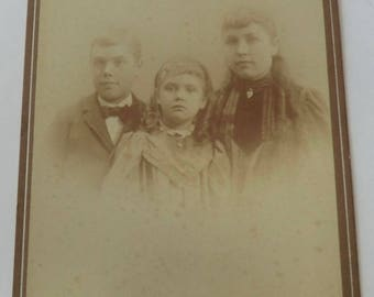 Antique Cabinet Card Photo Ethereal Ghostlike Children Girls Wearing Lockets
