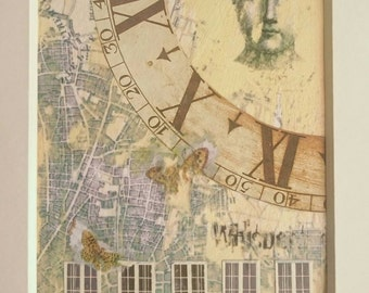 Mixed media original collage 'Time'