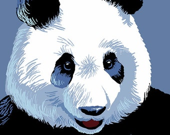 Panda Face - Visit the Zoo (Art Prints available in multiple sizes)