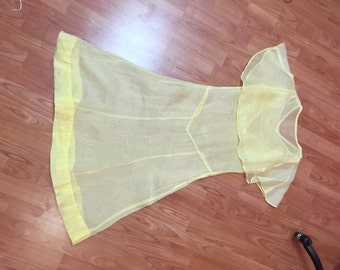 1920s sheer yellow dress