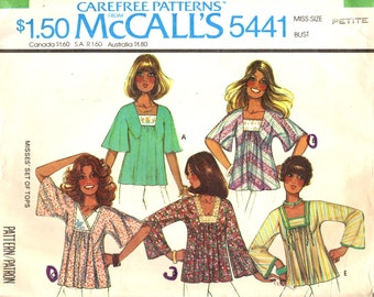 McCall's 5441 Pullover Tops Bell Sleeves Trims Insets VINTAGE 1970s ©1977