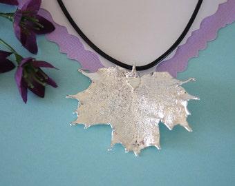 Real Sugar Maple Leaf, Real Silver Leaf, Maple Leaf Necklace, Canadian Leaf, Sterling Silver, LL141