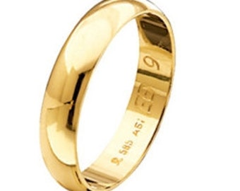 Wedding Band, Gold Wedding Ring, Wide Gold Band, Simple Band Ring, Mens Wedding Band, 9k Band Ring, 4,30 mm Band Ring, Solid Gold Band