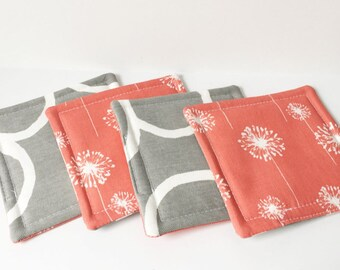 Coral Coasters Dandelion Fabric Reversible Coasters Fabric Coasters Cotton Set of 4 Modern Home Decor
