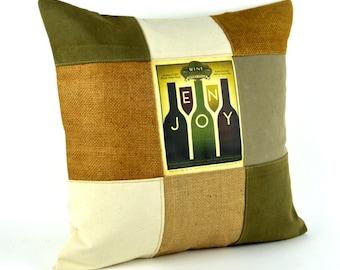 "Rustic pillow ~ Decorative pillow 18x18 ~Burlap, Canvas, Cabin, Cottage, Lake House  ""Checkered"" Home Decor, Cabin Decor, Ready to ship"