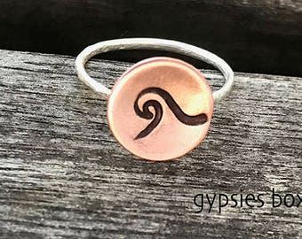 Wave Copper & Sterling Silver Ring /  Wanderlust Ring / Rustic Ring / Hand Stamped Ring / Dreaming of the Ocean