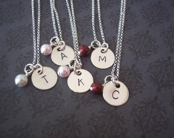 Set of 5  Hand Stamped Jewelry - Personalized Necklace SIMPLICITY sterling initial necklace 2 FONT choices  BRIDESMAID, Flower Girls, teen