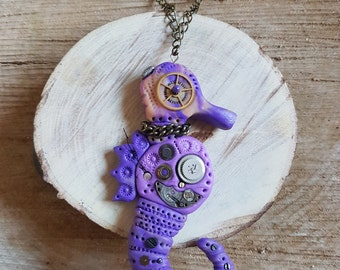Handmade Polymer clay Steampunk purple and peach Seahorse necklace