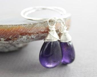 Sterling silver dangle amethyst drop earrings - Stone earrings - Amethyst earrings - Dangle earrings - Minimalist earrings - ER056