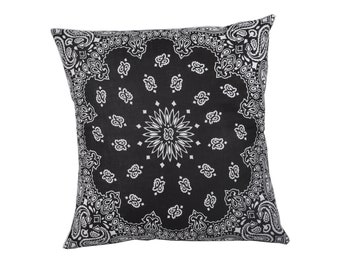 Black Bandana Pillow Cover - Home Decor