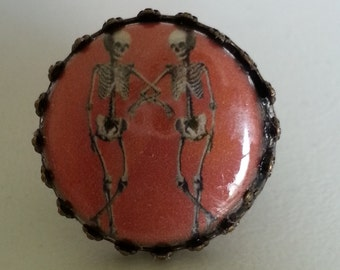 Skeleton Bones  Creepy Goth Steam trunk Cabochon  Adjustable  Ring
