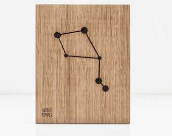 Libra Constellation Picture -Zodiac -Wooden handmade - Woodworking - Wood - Sign - Wall Art- Custom - Personalized - Gift - 11 cm x 14 cm