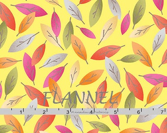 Eucalyptus Leaves Flannel Fabric, Yellow, Green, Pink, Orange, Gray Leaf Quilt Flannel, Kanvas Studio Koala Baby Flannel CF 8682F 33, Cotton