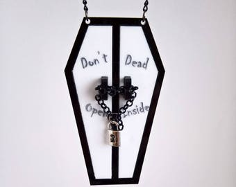 Gothic necklace, walking dead necklace, coffin necklace, alternative jewellery, horror jewellery, acrylic necklace, zombie necklace, fandom