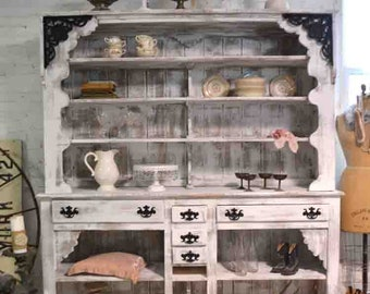 Painted Cottage Shabby Farmhouse China Cabinet/ Bookcase / Linen Cabinet/ China Cabinet/ Store Display