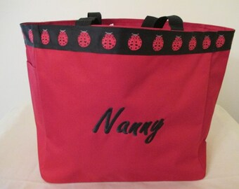 Nanny Personalized Tote Bag, Carrier, Embroidered, Grandparent