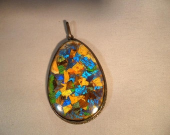 Sterling Silver Vintage Dichronic Glass  Pendant