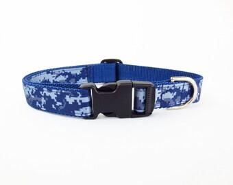 Medium Digi Camo on Navy Dog Collar