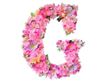 Floral Letter, Floral Baby Nursery Monogram, Nursery Initial, Floral Bridal Shower Monogram