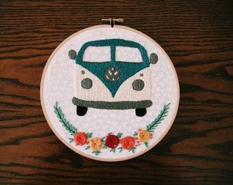Kombi Love {teal, embroidery} hoop art