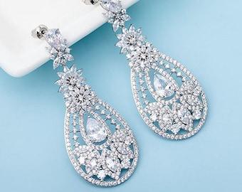Bridal Earrings, Cubic Zirconia Earrings, Wedding Earrings, Crystal Earrings, Drop Earrings, Chandelier Earrings, Bridal Jewellery Online