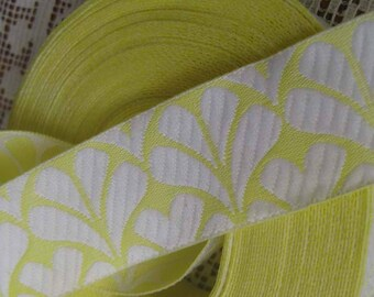 Wholesale Lot 9-5/8 Yards Fabric Trim Jacquard Ribbon 1 Inch Wide Yellow And White #34