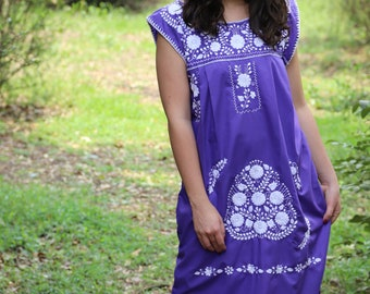 Purple and white embroidery Puebla Dress