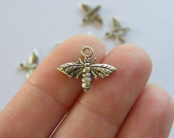 14 Bee charms antique silver tone A317