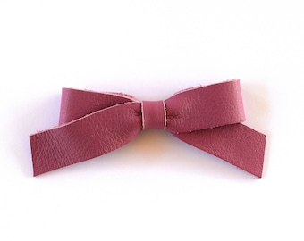 School Girl MAUVE Leather Bow Clip Adorable Photo Prop for Newborn Baby Little Girl Child Adult Headwrap Pretty Spring Summer Holiday Bow