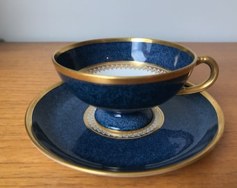 Royal Worcester Blue and Gold Vintage Teacup and Saucer, English Bone China Tea Cup and Saucer, Tea Party, 1920s