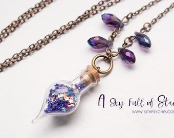 Teardrop vial necklace, glitter stars vial pendant glass bottle necklace custom colour necklace inspirational gift for women Romantic gift