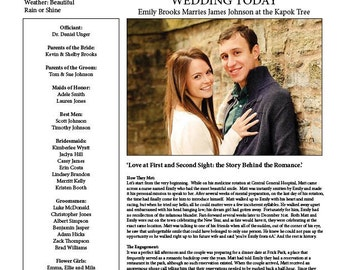 Newspaper wedding program | Etsy
