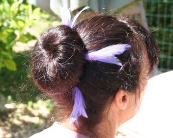 Purple feather hair pin