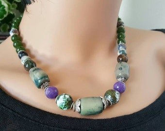 Bamboo Coral Necklace, Amethyst Agate Statement Necklace, Chunky Necklace, Green Bamboo Jade Necklace