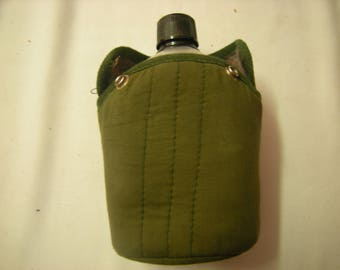 vtge canteen-army canteen-hiking-camping-aluminum-banged up-canteen with sleeve-sleeve with hook-