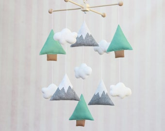 Baby Mobile, Trees and Mountains Mobile, Nature Mobile, Mountain Mobile, Tree Mobile