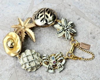 Charm Bracelet, Upcycled Vintage Earrings, Reclaimed Vintage Bracelet, Earring Bracelet, Bridesmaid Gift, Flowers - The Power of Gold