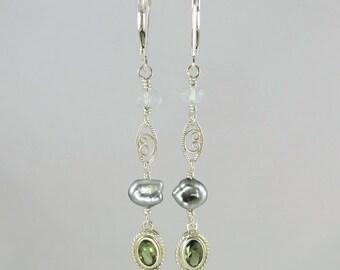 OOAK faceted Czech moldavite Tahitian keshi pearl aquamarine and sterling silver lever back earrings tektite meteorite