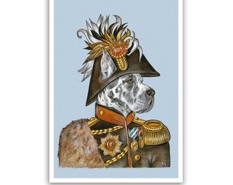Great Dane Art Print - the General - Military Dog Art, Pet Prints - Harlequin Dog Artworks - Pet Portraits by Maria Pishvanova