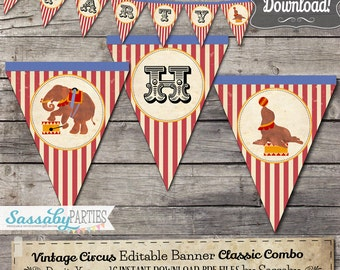Vintage Circus Party Banner - INSTANT DOWNLOAD - Editable & Printable Classic Combo Birthday Decorations, Decor, Bunting by Sassaby Parties