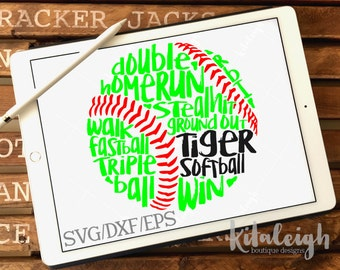 Messy Tiger Softball INSTANT DOWNLOAD in dxf, svg, eps for use with programs such as Silhouette Studio and Cricut Design Space