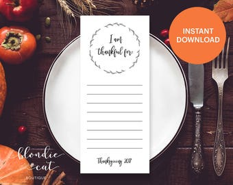I am Thankful For Printable Cards | I am Thankful For Printable Lists | Thanksgiving Thankful Cards | Thanksgiving List | Table Setting