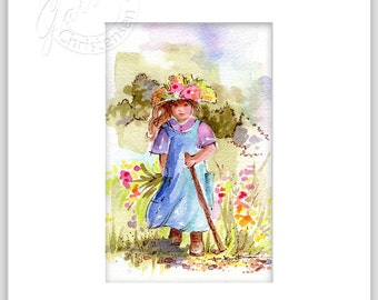 Country Girl Hiking Original Watercolor Art Painting Spring Summer Wildflowers Plus Matting Home Decor FREE Shipping