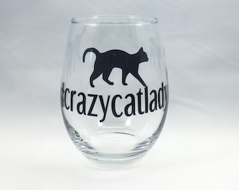 Hashtag Crazy Cat Lady Stemless Wine Glass
