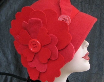 1920s Cloche Hat in Red Wool Flapper Hat