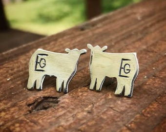 Sterling Silver Livestock Brand Earrings